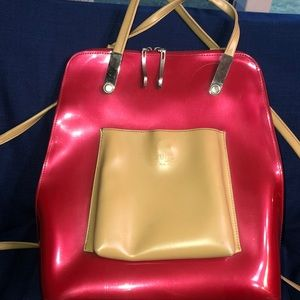 Beijo Red Large Backpack Style Purse